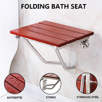 New Folding Bath Seat Bench Shower Chair Wall Mount Solid Wood Construction Shower Seats Saving Space Bathroom