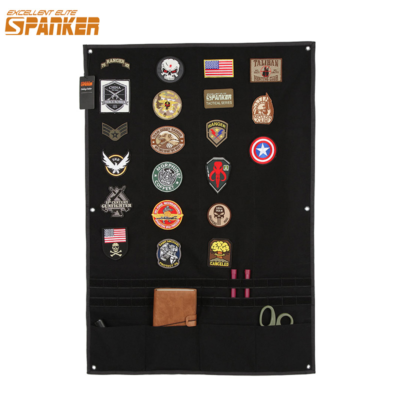EXCELENTE ELITE SPANKER Tactical Badge Board Plegable Mat Sticker Holder para el Ejército de Caza Moral Parche Badge Panel de Utilidad