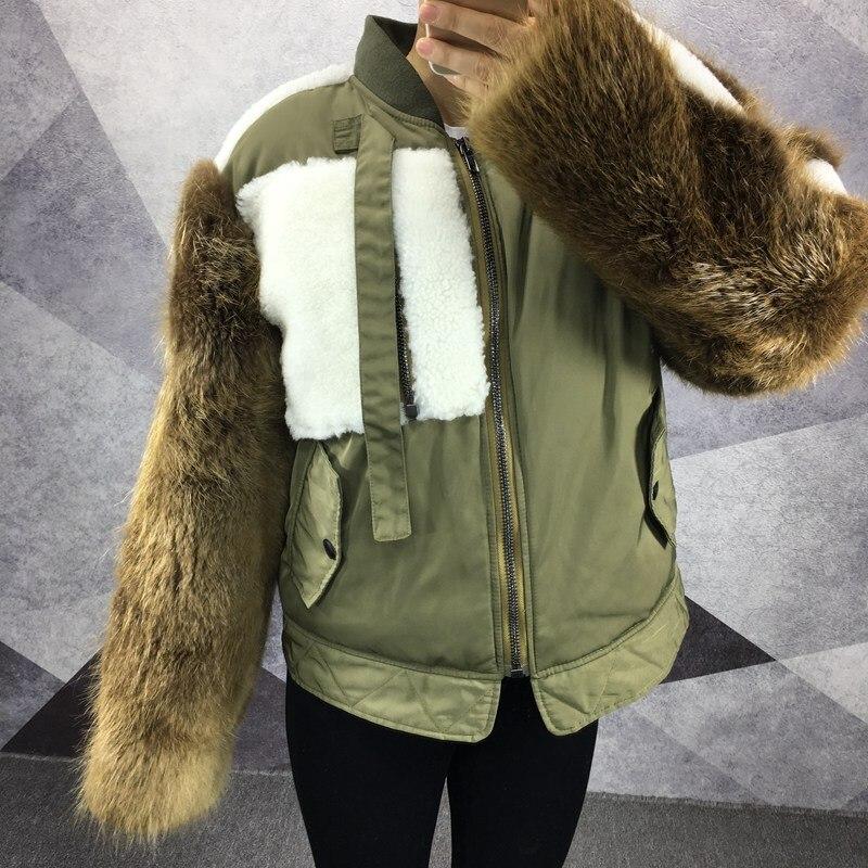 2018 luxe automne hiver femmes bomber veste avec de la fourrure pour l'hiver réel mouton fourrure castor fourrure coton manteau femme armée vert tissu