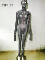 Мода Полный блестят серебряные стразы Комбинезон Маска Головной убор одежда с длинным рукавом комбинезон производительность вечерние рос