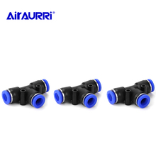 цена на 3 Way T shaped Fittings Connector Adapters Tee Pneumatic 10mm 8mm 12mm 6mm 4mm 16mm OD Hose Tube Push In Air Gas Fitting Quick