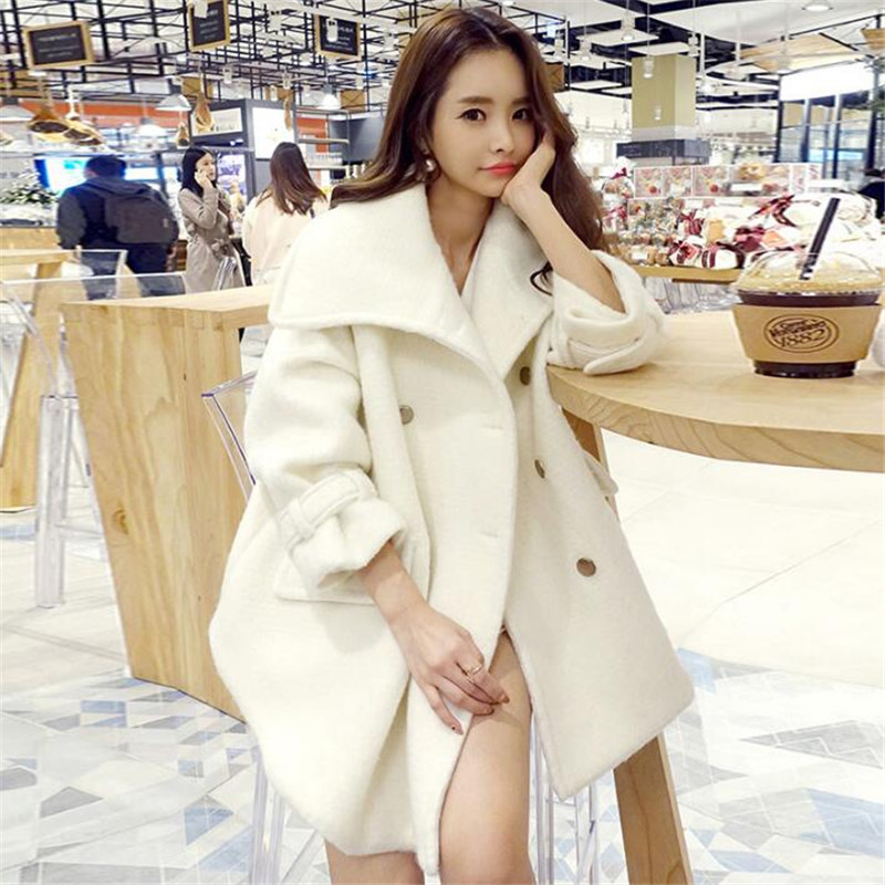 Korea Style Winter Wool Coat Women Double Breasted Turn Down Collar Loose Thick Warm Cashmere Jacket