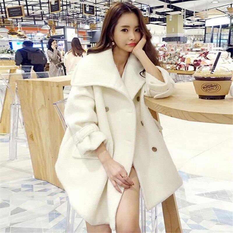 韓国スタイルの冬のウールコートの女性のダブルブレストターンダウン襟ルース厚く暖かいカシミヤジャケットルースマント上着 A5261  グループ上の レディース衣服 からの ウール混紡 の中 1