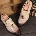 Новый 2017 мужская башмаки оксфорд обувь скольжения на Картины Аллигатора кисточкой плоские повседневная обувь бизнес обувь размер 38-43