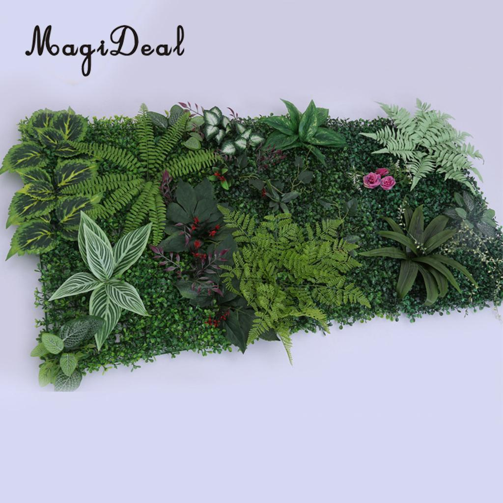 6 Pieces Artificial Green Grass Plant Berries Flower Wall Panels Wedding Party Foliage Pillar Main Road Decor