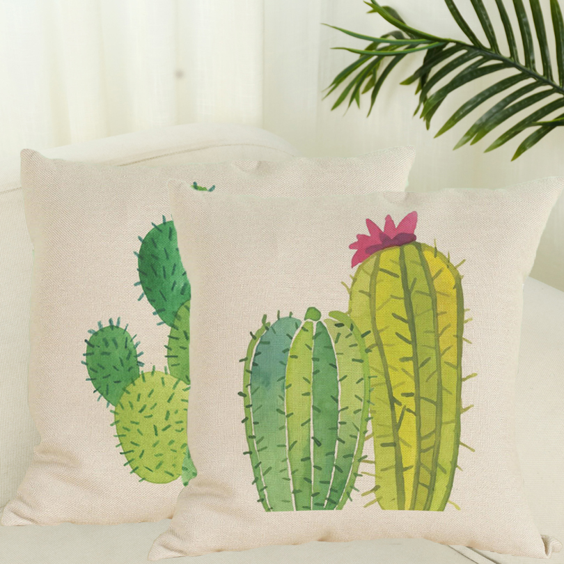 Fashion Africa Tropical Plant Cushion Pillow Covers Cactus Pillowcase Seat Chair/Office Home Throw Pillow Case Covers 45x45cm