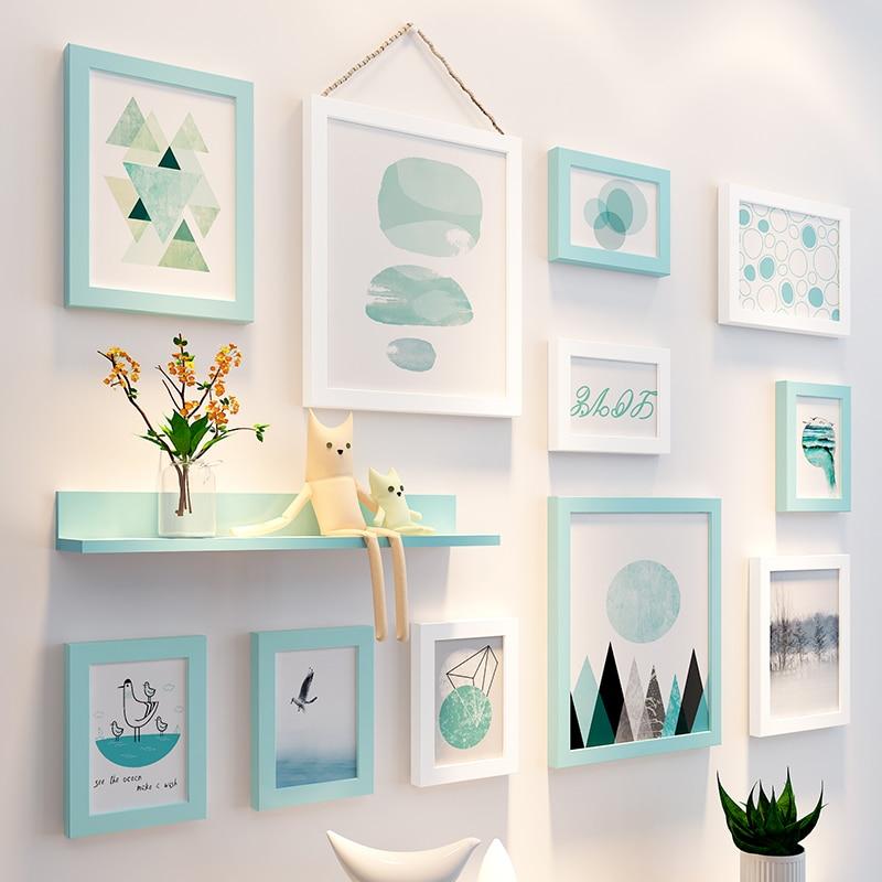 11 pcs/lot noir blanc rose vert Vintage cadre Photo ensemble mur famille en bois cadre Photo + étagère cadres pour peintures