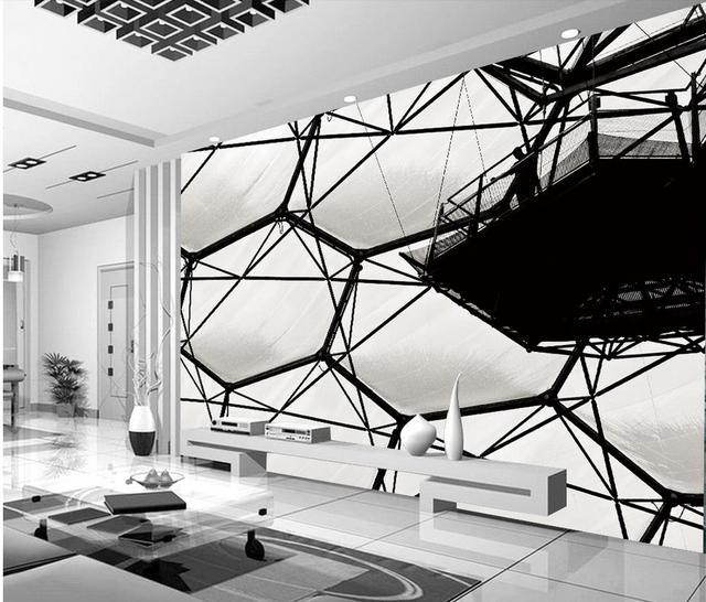 3d Stereoscopic Wallpaper Black And White Water Cube Murals Mural Painting Photos Home Decoration
