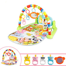 Baby Gym Puzzles Mat Educational Rack Toys Baby Music Play Mat With Piano Keyboard Infant Fitness Carpet Gift For Kids 3 in 1 3 in 1 baby playmat piano musical sleep lullaby activity fitness gym mat kid sleeping safety blanket christmas gift for children