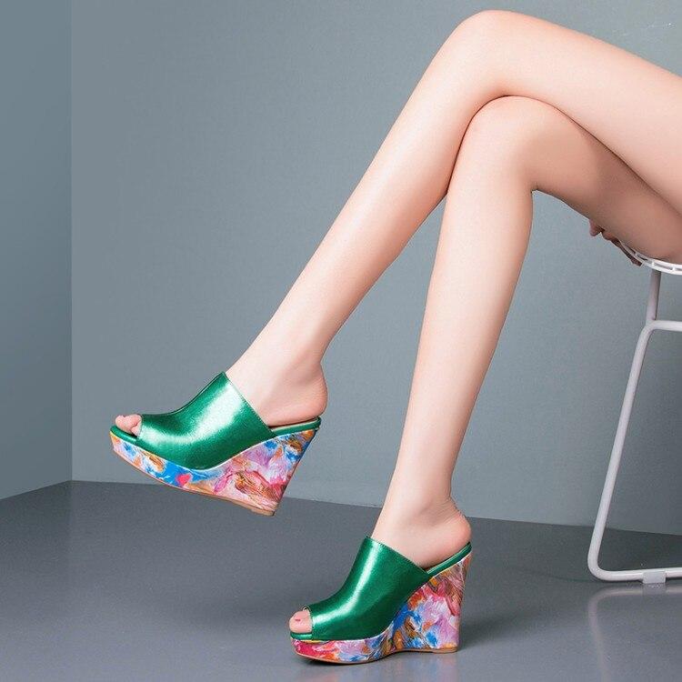 fbe3a666 Klapki Lato czerwony Peep Modne Sexy New Style Sandały Skóry Na Toe Damskie  Przybył 2019 Koturnie Kobiet Prawdziwej Szpilki Zielony Wysokim ...