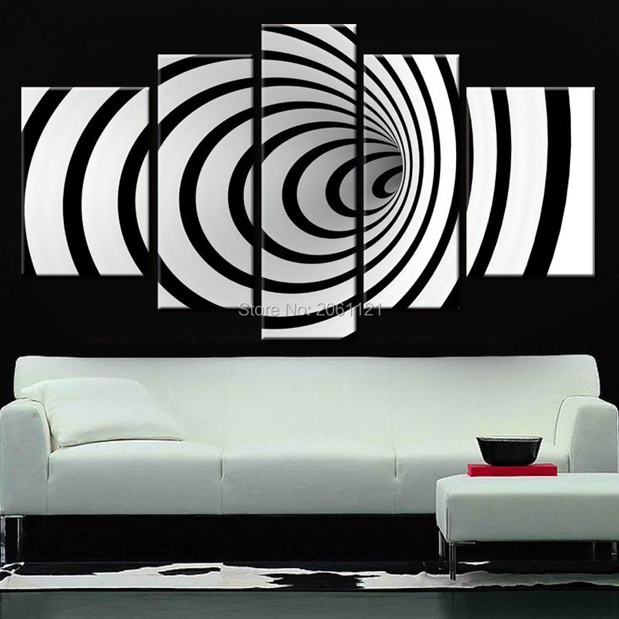 Science Fiction Decoration Modern Design Black White Wall Art