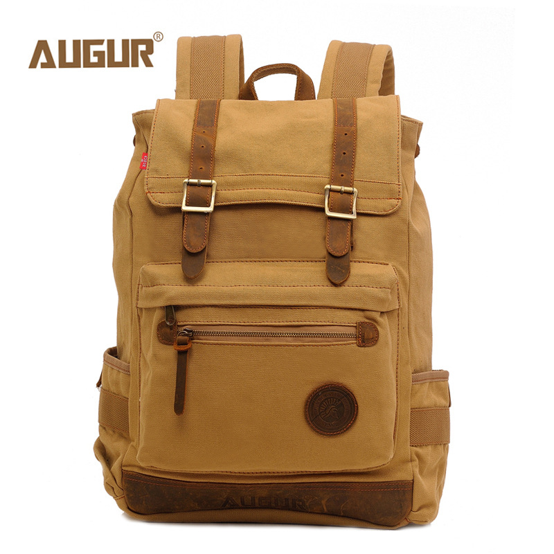 AUGUR Fashion Men Backpack Canvas Travel Laptop Bag Rucksacks Famale Backpacks Teenagers Student School Bags voyjoy t 530 travel bag backpack men high capacity 15 inch laptop notebook mochila waterproof for school teenagers students