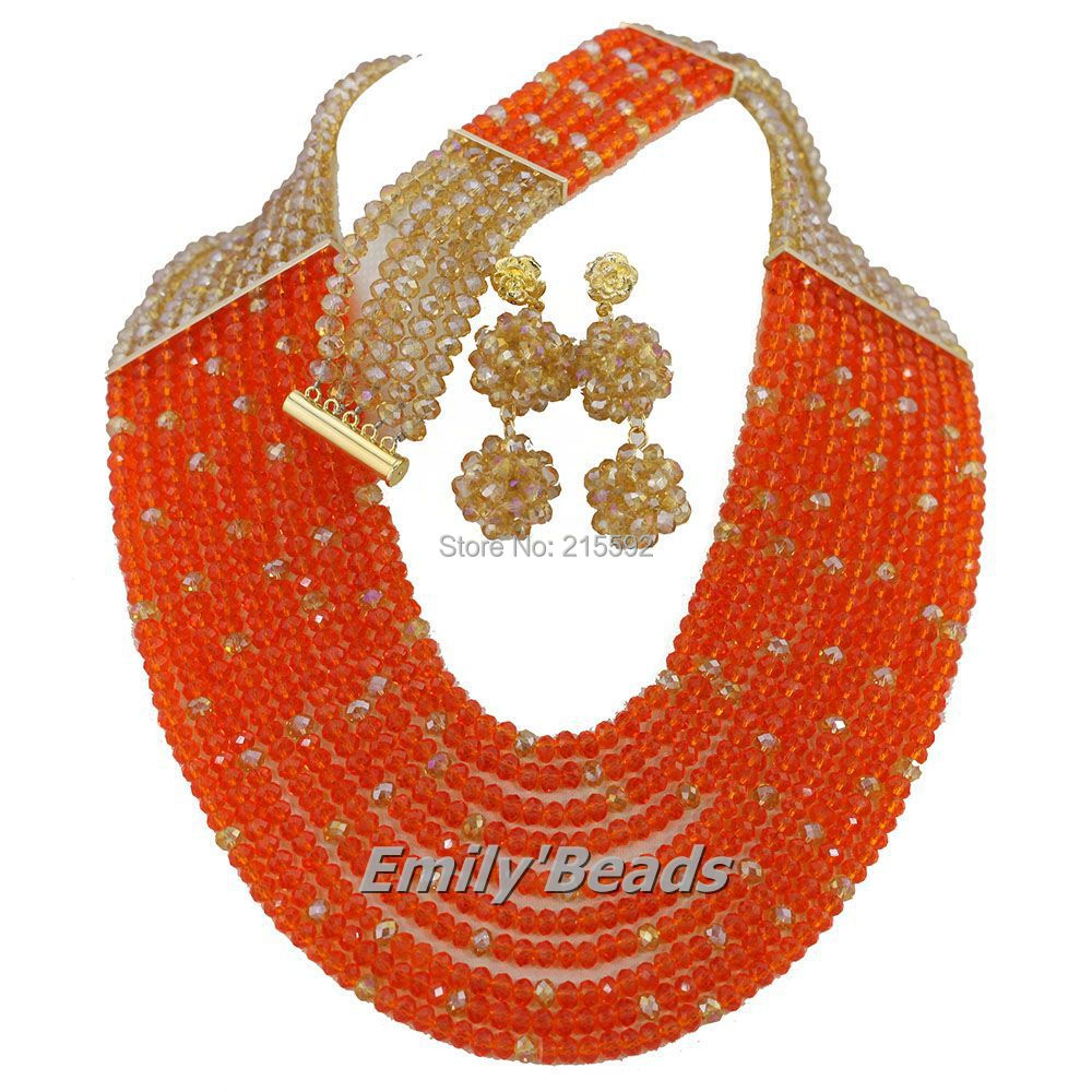 Orange Champagne African Beads Jewelry Set Wedding Bridal Necklace Crystal Beads Jewelry Set 10 Rows Free
