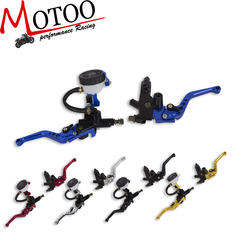 Motoo - Universal CNC 7/8 22mm  Adjustable Motorcycle Brake Clutch Levers Master Cylinder Hydraulic Reservoir Set For Honda universal motorcycle brake fluid reservoir clutch tank oil fluid cup for mt 09 grips yamaha fz1 kawasaki z1000 honda steed bone
