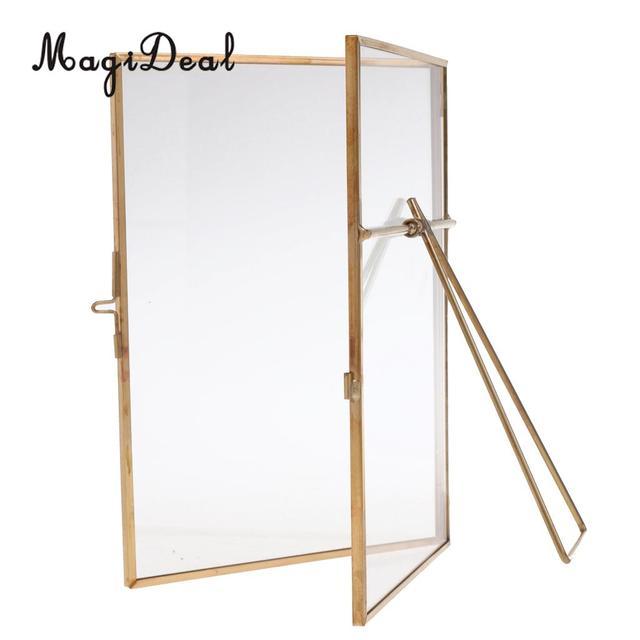 MagiDeal Metal & Glass Photo Frame Portrait Holder Freestanding DIY ...
