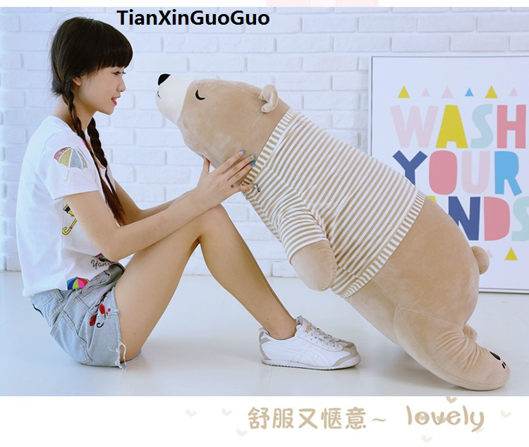 huge 110cm cartoon soft polar bear dressed stripes cloth plush toy lovely brown bear sleeping pillow Valentine's Day gift w2593 fancytrader biggest in the world pluch bear toys real jumbo 134 340cm huge giant plush stuffed bear 2 sizes ft90451