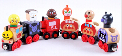 New Wooden toy Factory Direct 6 magnetic Anpanman train children 39 s educational toys magnetic train wooden blocks Free shipping in Blocks from Toys amp Hobbies