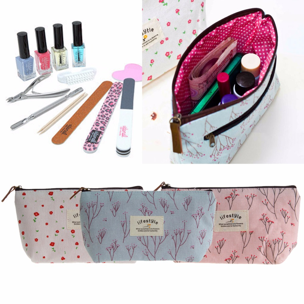 THINKTHENDO Canvas Flower Floral Pencil Pen bag Cosmetic Makeup Storage bag Case Purse cartoon cosmetics bag pokemon go gravity purse bag received wallet makeup pencil pen case bag zelda pokemon ball purse bag wt004