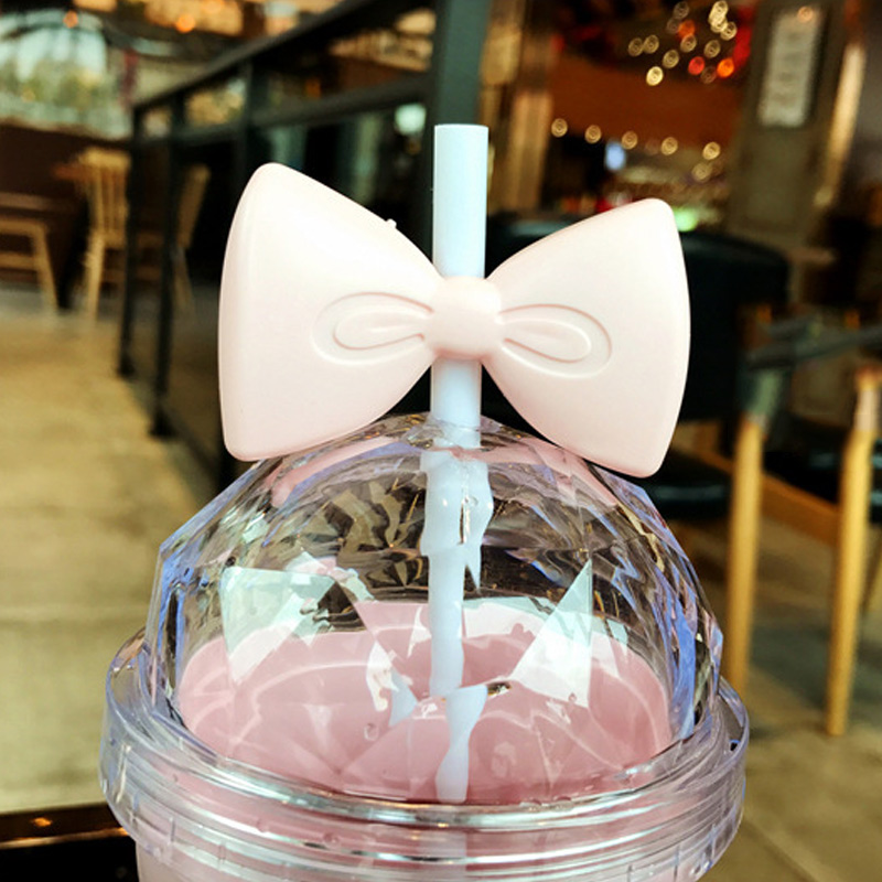 Portable 400ml Bowknot Plastic Straw Cup Lid Straw Water Fruit Juice Drink Bottle for Kids Gift E2S