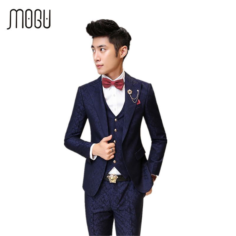 MOGU Floral Men Suit New Three Piece Mens Clothing Fashion Printed Costume Wedding Suits ...