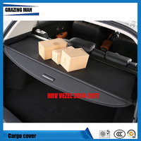 Car Rear Trunk Security Shield Cargo Cover For HR V HRV VEZEL 2014.2015.2016.2017 High Qualit Black Beige Auto Accessories