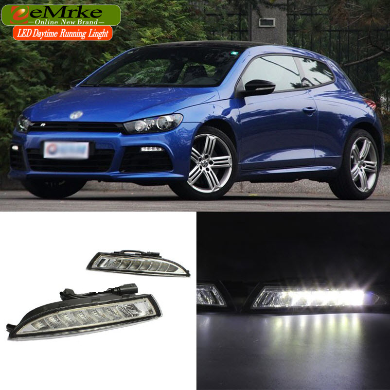 eeMrke LED Daytime Running Lights For VW Volkswagen Scirocco R 2010 2011 2012 2013 White DRL Light Fog Lamp Cover Kits daytime running light for vw volkswagen passat b6 2007 2008 2009 2010 2011 led drl fog lamp cover driving light