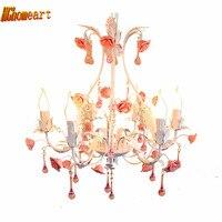 2017 neue Produkte Eisen Mode Pastoralen Stil Rose Blume Eisen 110 v-220 v Moderne Kristall Kronleuchter E14 Led kronleuchter