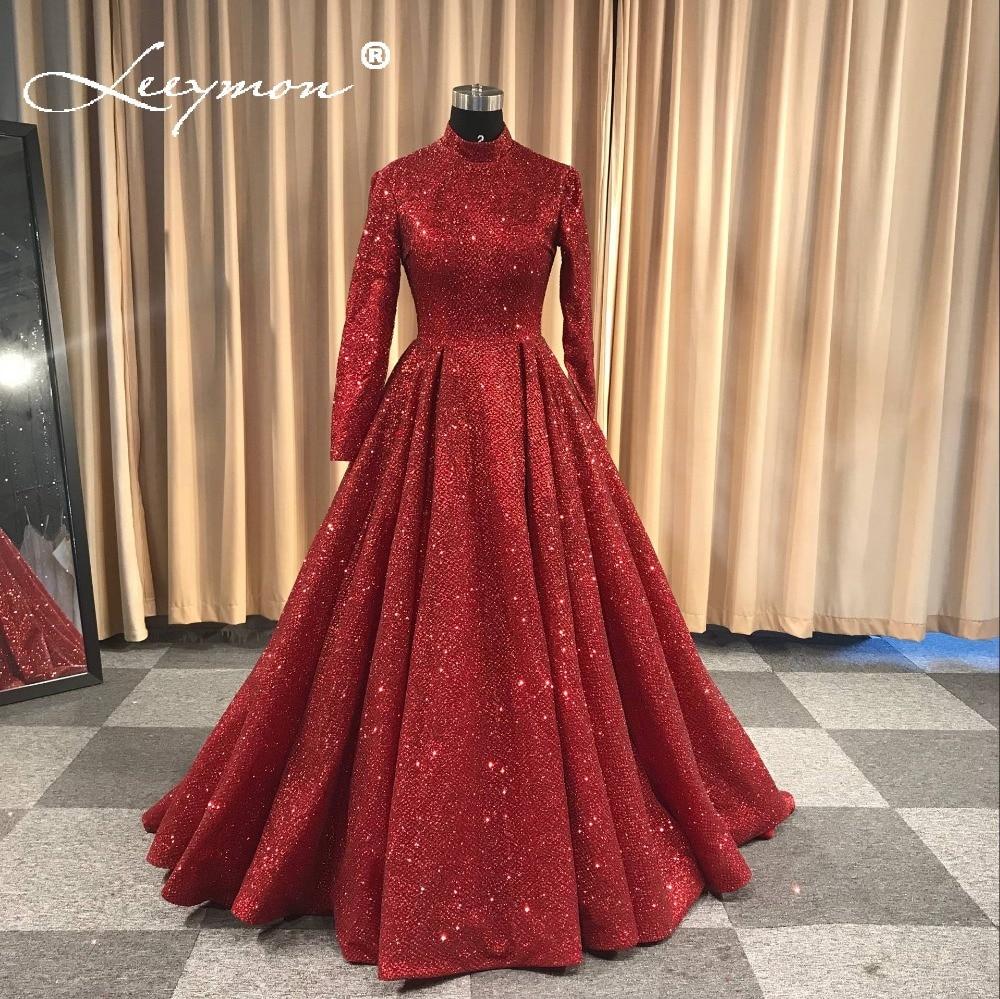 Robe De Soiree Glitter brillante vestido de noche mangas largas noche - Vestidos para ocasiones especiales