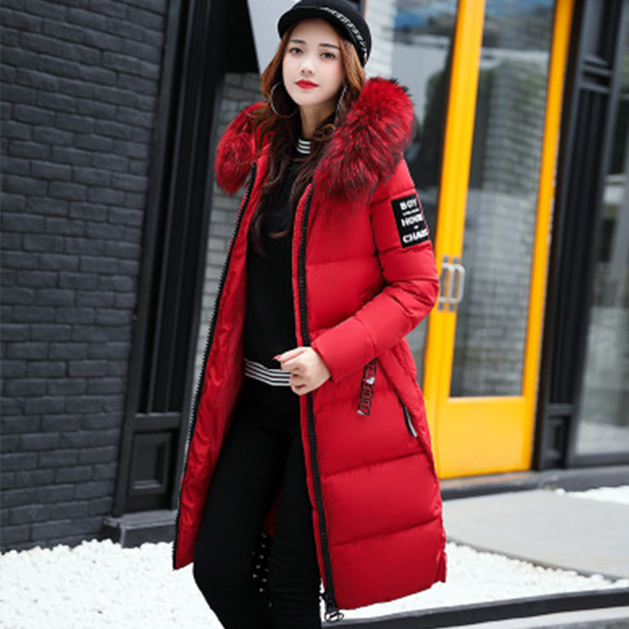 Winter Thicken Hooded   Down     Coat   Women Casual Warm Big Fur Collar Jacket Luxurious Elegant 2018new Women   Down   Jacket High Quality