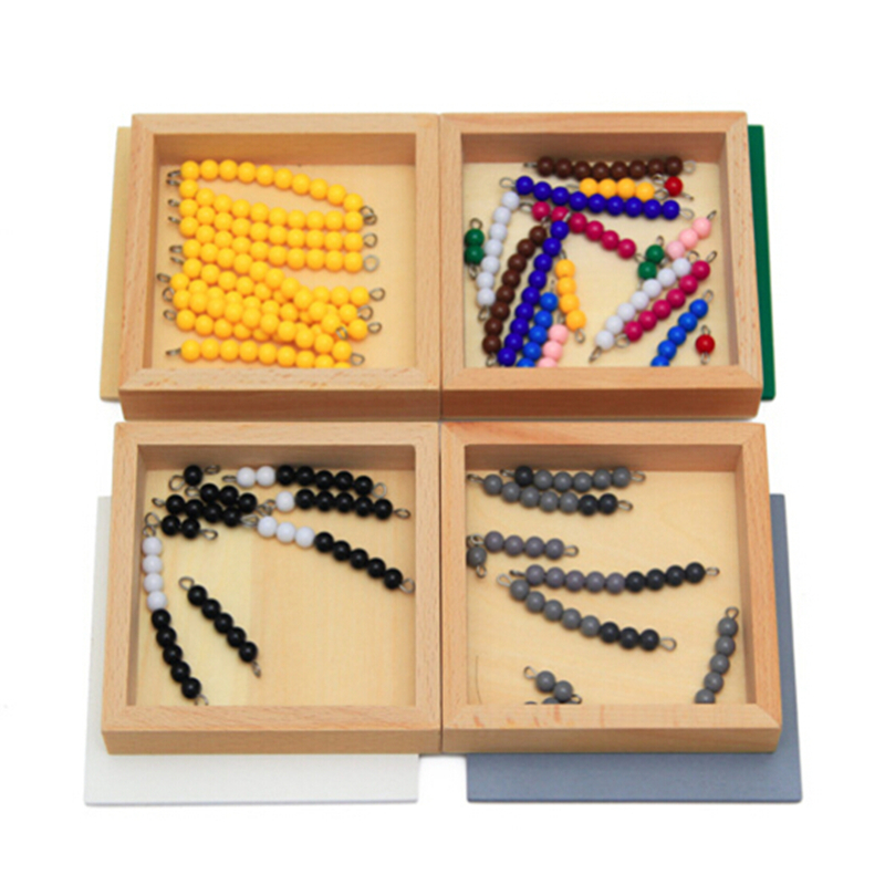 Hoge Kwaliteit Montessori Materiaal Wiskunde Speelgoed Aftrekken Snake Game 12 * 12 * 8 CM Houten Doos Plastic Kleurrijke Kralen Math speelgoed