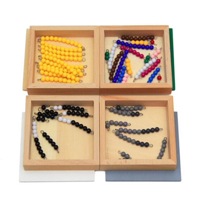 Juguetes matemáticos de Material Montessori de alta calidad, juego de serpiente de resta, 12x12x8CM, caja de madera, cuentas coloridas de plástico, juguetes de matemáticas