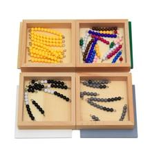Yüksek kaliteli montessori malzemesi matematik oyuncaklar çıkarma yılan oyunu 12*12*8CM ahşap kutu plastik renkli boncuklar matematik oyuncaklar