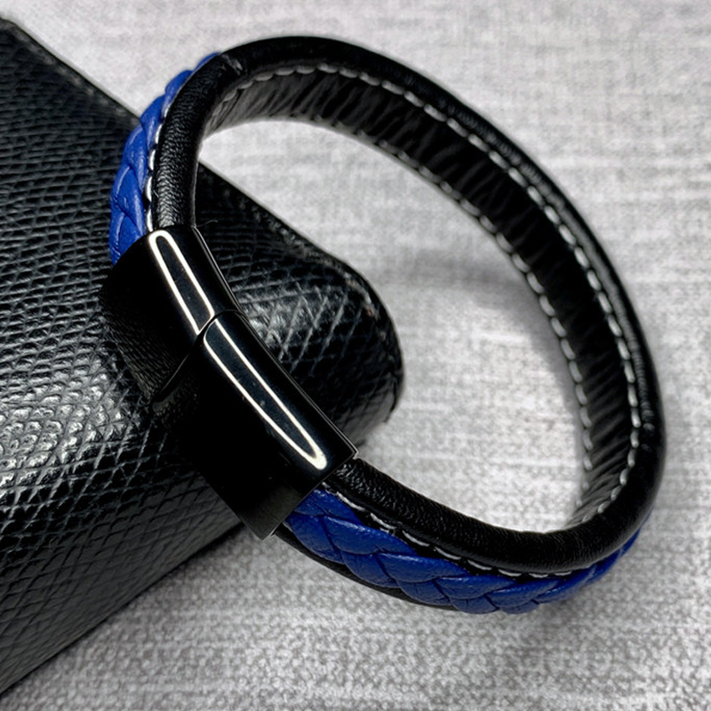 Braided Black Blue Leather Bracelet Men Fashion 1