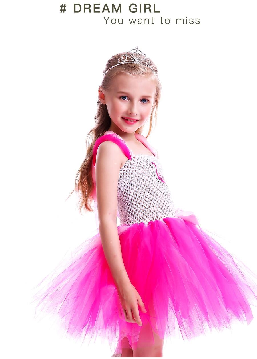 Girls Flamingo Princess Dress Pink Flower Tulle Clothes Kids Birthday Party Dresses 2018 Brand Animal Costume Flamingo Vestidos (6)