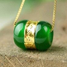Прямая халцедон Переводные бусины кулон золото нефрит LuLuTong ожерелье Счастливый амулет влюбленные ювелирные изделия для мужчин и женщин подарок