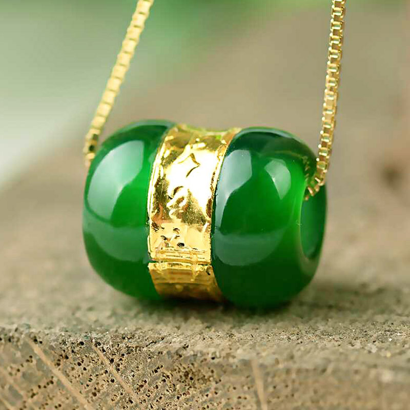 Drop Shipping Chalcedony Transfer Beads Pendant Gold Jade LuLuTong Necklace Lucky Amulet Lovers Jewelry For Men Women Gift
