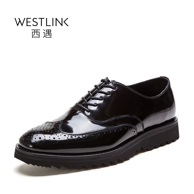ФОТО Westlink 2017 Spring New Top Layer Cow Leather Brogue Carving Lace-up Mid Heels Platform Shoes Black Wine Red