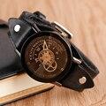 KEVIN Marca Simples Roda de Engrenagem Pulso Relógios Das Mulheres Dos Homens Do Esporte relógio de Pulso de Couro Casual Relógios de Quartzo 2017 Relojes