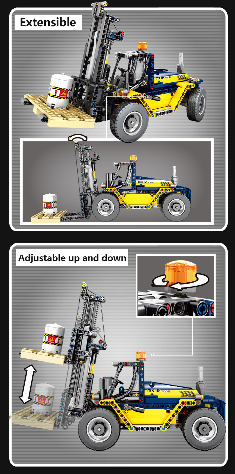 609pcs City Engineering Vehicles 2 In 1 Forklift Building Blocks Compatible Legoing Technic Truck Crane Bricks Toys For Children (4)