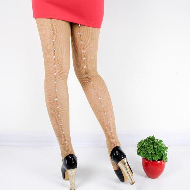 ef1a536b95a 2019 Hot Sale Vintage Design Back Line pantyhose Seam Sexy Women s Diamonds  fishnet stocking Shiny tights Black Beading collant