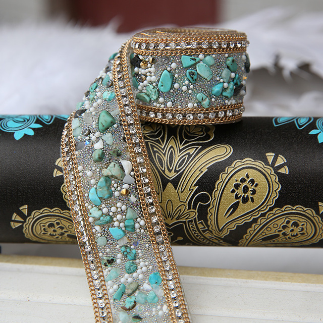 1d13c86c22 US $16.55 28% OFF|Diy Wedding dress accessories fabric applique patches  Crystal Rhinestone Pearl Beaded Lace Trim Iron on or Sew on 3.5cm Width-in  ...