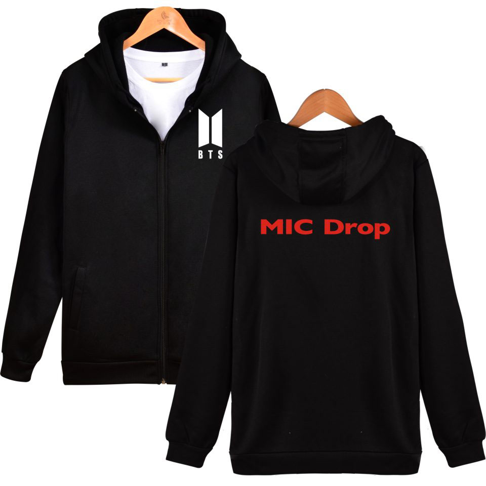 2017 Bangtan Boys Zipper Kpop Sweatshirt MIC Drop BTS Hoodies Sweatshirt  Zip-Up Female Fashion Casual Winter Clothes 4XL XXS