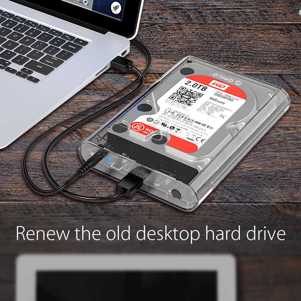 ORICO, carcasa transparente para HDD de 3,5 pulgadas, carcasa para disco duro Sata USB 3,0, caja externa de disco duro libre de herramientas, soporta UASP hasta 8TB