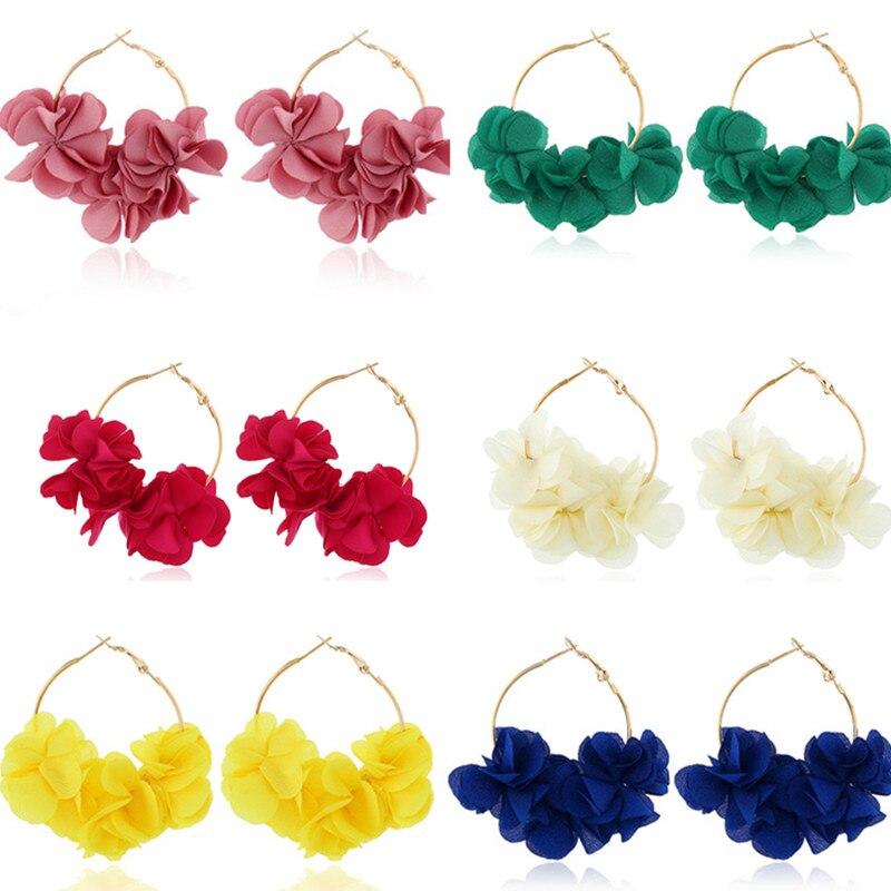 Модные Простые креативные серьги для женщин с тканевым цветочным дизайном изысканные женские серьги-кольца