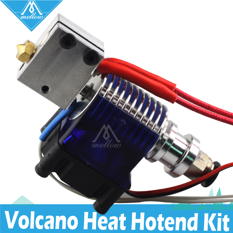 Mellow 12V 24V 3D Printer Volcano heater block kit E3D V6 J-head PT100 Hotend with Cooling Fan for bowden Extruder 0 4mm Nozzle