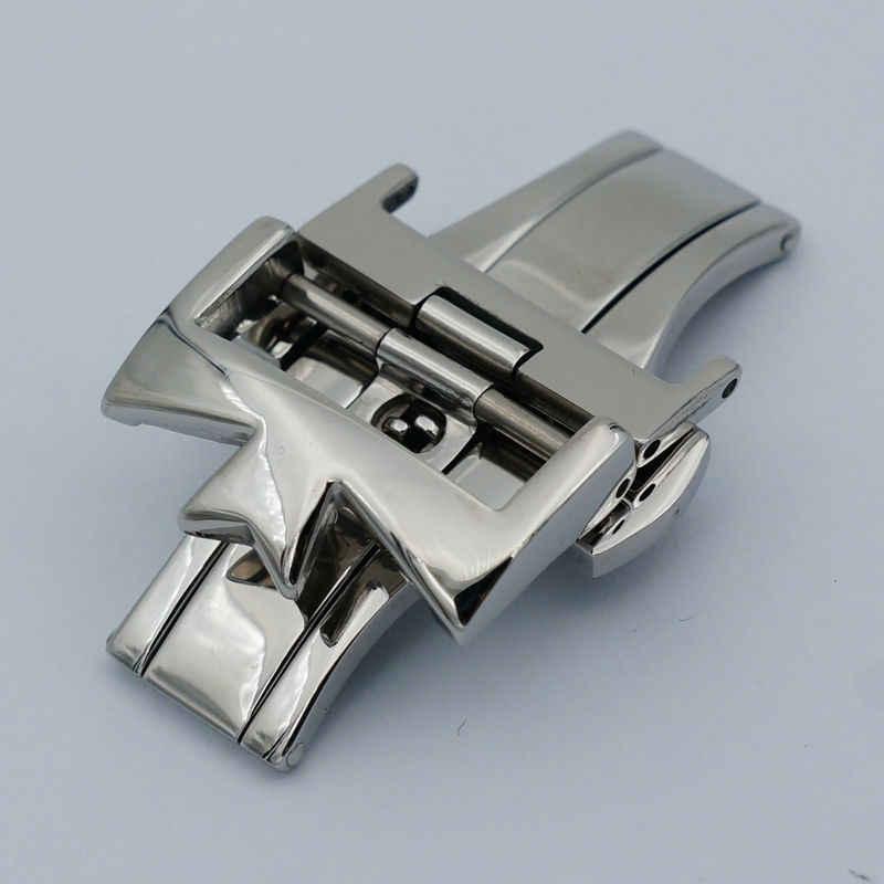 MAIKES gorąca sprzedaż 18mm20mm 316L ze stali nierdzewnej podwójne przez podwójne otwarte sprzączka do zegarka zapięcie pasek Deployant dla od zegarków