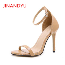 цена на 11CM Fine Heel Women Summer Sandals 2019 Gladiator Heels Thin New Sexy Rivets Open Toe Ankle Strap Sandals Heels Big Size 35-42