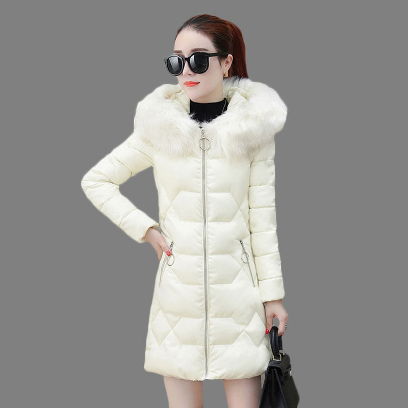 Down Cotton Women's Jacket Medium Long 2018 Winter New Slim Large Fur Collar Hooded Wadded Jacket Female Thick   Parkas   LQ473