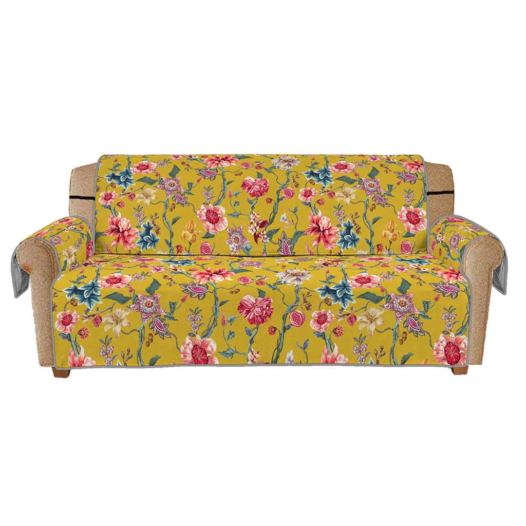 Home Household Products Yellow Vine Flower Print Anti-slip Quilted Sofa Couch Cover Chair Pet Dog Kids Mat Furniture Protector
