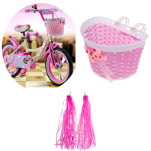цена на Girls Bike Pink Front Handlebar Basket + Retro Pom Pom Tassels Streamers for Personalizing Kids' Bicycles Tricycles Scooters